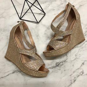 Gold Diamonds Sparkles Women's Wedge Dress Heels